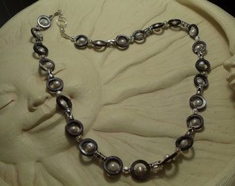 """24"""" Pearls Enveloped in Grey with Silver Necklace"""