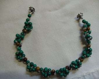 "7 3/4"" Turquoise and Tiger Eye  Beaded Bracelet, Bracelet, Turqoise, Gear Design, Cluster, Tiger Eye"