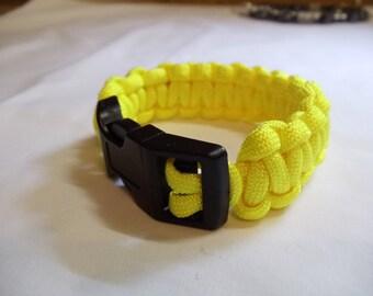 "7 1/2"" Yellow Paracord Bracelet, Bracelet, Paracord, Yellow, Nylon, Buckle"