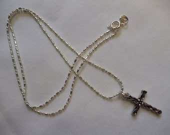 """18"""" Silver Chain with Cross, cross, silver chain"""