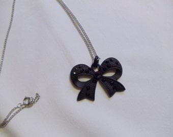 "24"" Black Bowtie Necklace on Silver Chain, necklace, bowtie, black"
