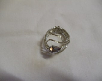 "5 1/2"" Silver Wire Wrapped Ring, Ring, Wire Wrapped"
