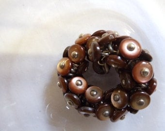 """1 1/2"""" Bronze Shoe Button Scarf Ring - Candle Holder - Napkin Ring"""