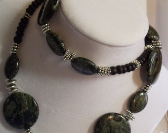 """26"""" Green, Silver, and Black Beaded Necklace, necklace, green, silver, black, beaded"""