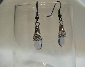 Light Sapphire Drop Earrings on Black Earwires