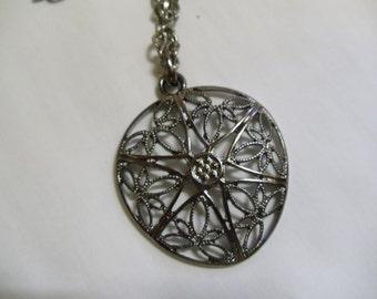 """19"""" Black Silver Pendant on Black Silver Chain, necklace, pendant, black chain,"""