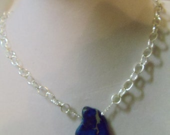 """17 1/2"""" Blue Slab Necklace with Lobster Claw Clasp"""