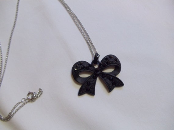 "24"" Black Bowtie Necklace on Silver Chain"