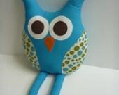 lovely owl pillow rag doll for woodland owl nursery or owl plush in teal blue