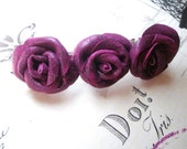 Leather Rose Flower Barrette