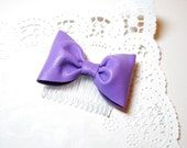 Violet Leather  Bow  Hair Wedding Comb