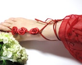 Sexy  barefoot sandles-Barefoot Sandals, Red  Leather Rose  Flowers  Anklet