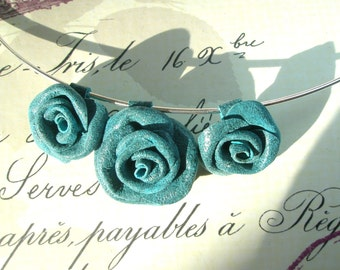 Blue Leather  Roses Necklace