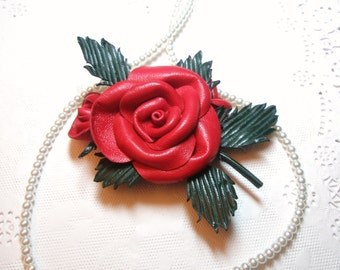 Red rose necklace or  brooch-  leather  jewelry - flower necklace- Wedding bridesmaid gift idea winter fashion free shipping