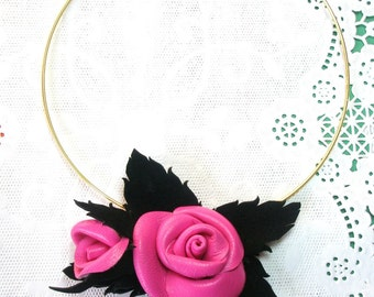 Pink Flower  Necklace Leather Rose  romantic  Shabby Chic  Brooch  Pendant