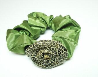 Cobra Snake Skin Leather Rose Flower Scrunchie