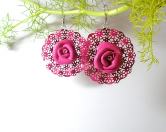 Pink rose earrings  Gold Tone Chain Black Gold  Leather Flower Rose  Earrings