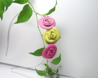 Only today SALE  - 50% off Pink and Yellow Leather Roses flower Headband