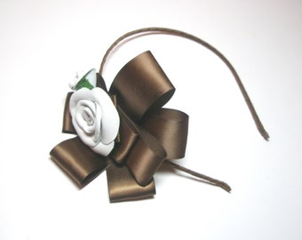 White  Flower hairpiece Leather  Rose  Headband wedding
