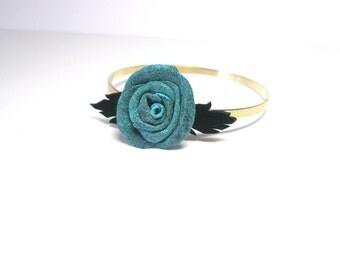 Flower Bracelet- Blue leather rose Bangle- Cuff