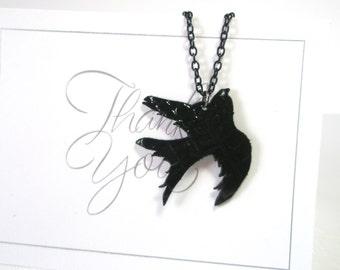 Bird  Necklace  -leather necklace -Black bird pendant