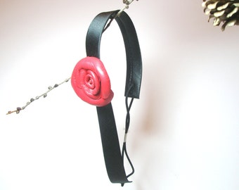 Red Leather Flower  Headband