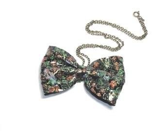 Leather Bow   Flower print   Unique Color Pendant   Hair Clip  Necklace    - One as  Two