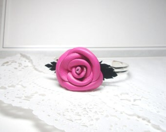 Flower  Bracelet  -Leather  bracelet - Pink rose Cuff  Bracelet