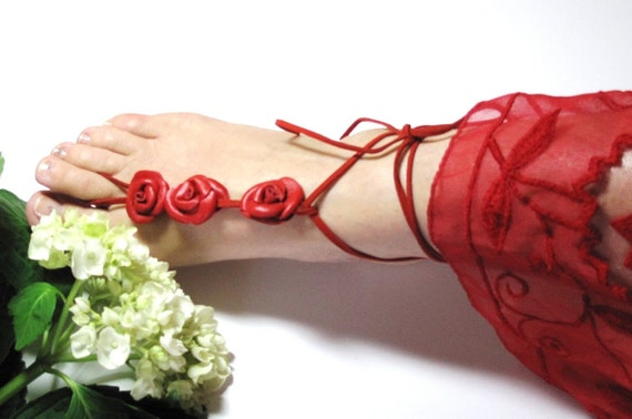 Barefoot Sandals,  Sexy Red  Leather Rose  Flowers  Anklet