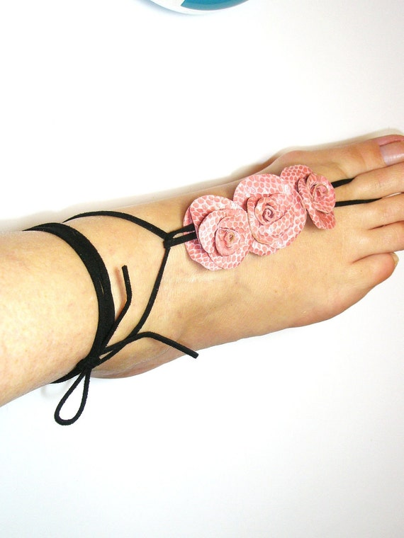 Barefoot sandles-Sexy Pink Leather Flowers Barefoot Sandals, Anklet for wedding free shipping