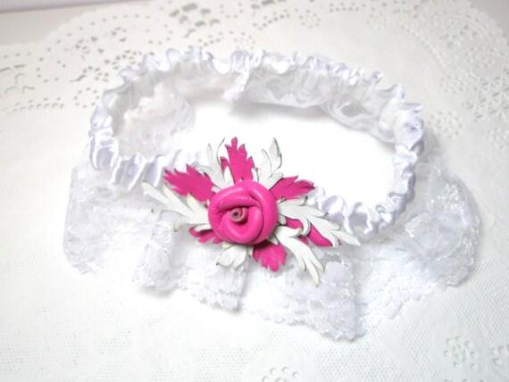Pink Leather Flower  Rose  Wedding  Garter