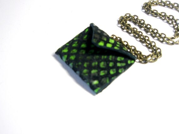Purse pendant  Green black Leather- mini purse  Unique  Necklace