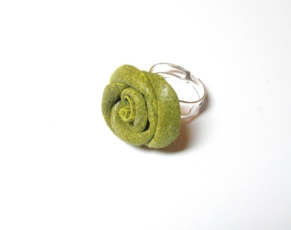 Flower Ring  Leather  Rose  Green jewelry