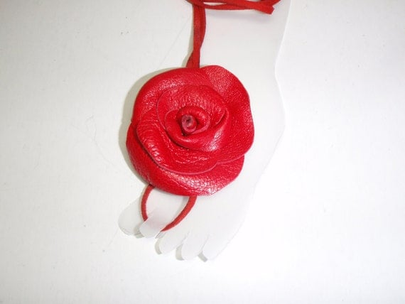 Barefoot Sandals- Red  Leather Rose - Flowers  Anklet-  barefoot sandles