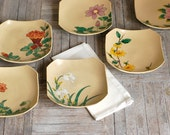 RESERVED. Vintage Japanese Hand-painted Dishes, Set of 6