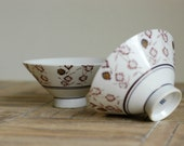 Japanese Rice Soup Footed Ceramic Bowls, Set of 2