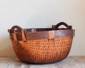 Vintage Reed Asian Basket with Wood Handles