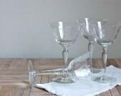 Vintage Etched Wine Glasses, Set of 4