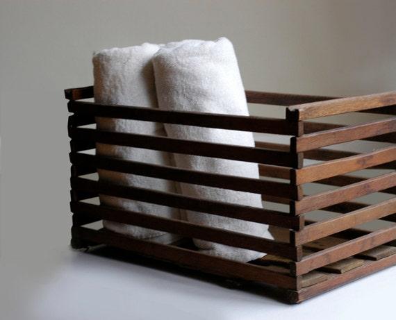 Primitive Rustic Wood Egg Crate