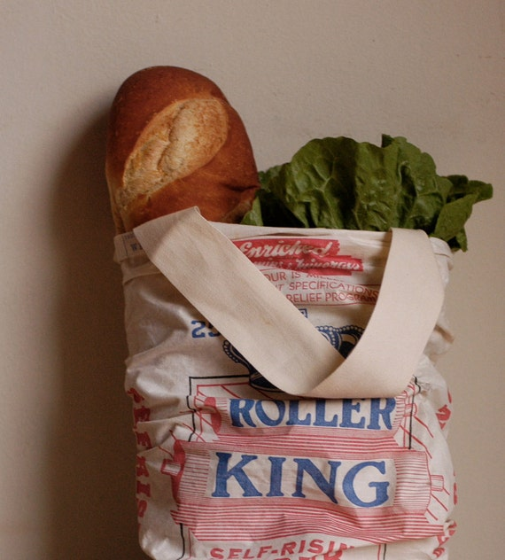 Small Market Tote made from Vintage Flour Sack
