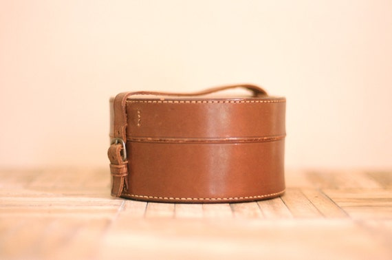 Vintage Leather Round Container