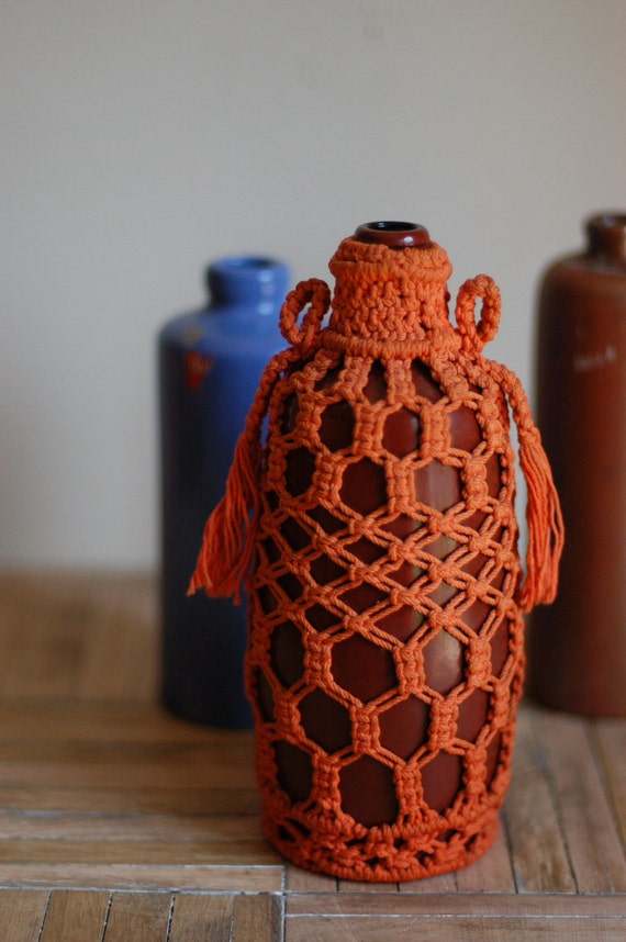 Vintage Glass Bottle with Macrame Sleeve