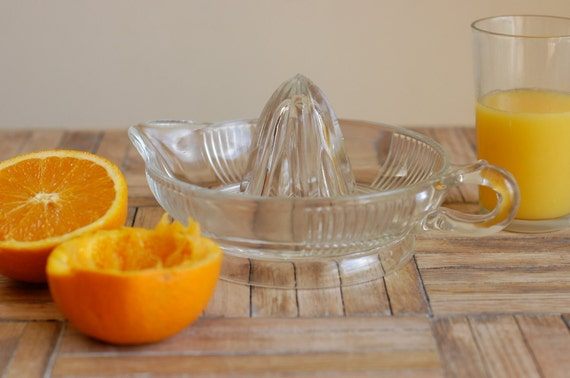 RESERVED. Clear Glass Depression Era Juicer/Reamer with Handle