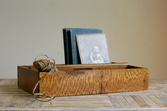 Vintage Divided Wood Tray