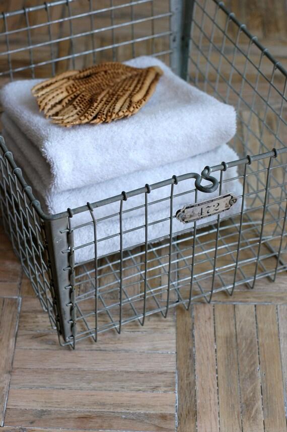 Vintage Metal Wire Locker Basket