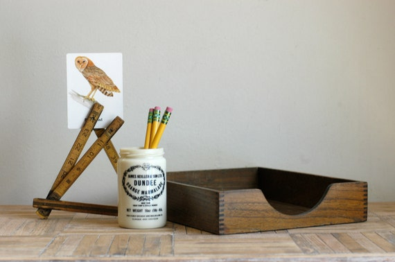 Vintage Industrial Desktop Set: Wood In-box, Orange Marmalade Jar and Folding Ruler