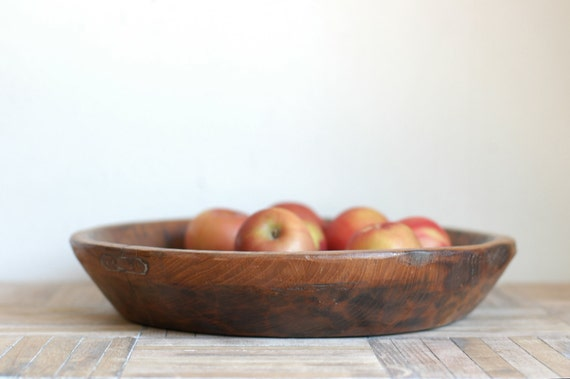 Vintage Hand Carved Wood Bowl