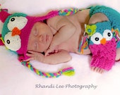 Girl OWL Set - Matching Hat and Leg Warmers- Made to Order- Newborn- 6T- Hot Pink, Teal, Lime Green