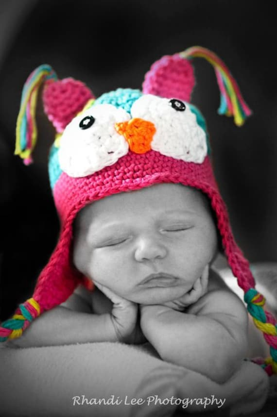 Baby Girl Crochet Owl Hat- Made to Order- Newborn- 5T- Teal, Hot Pink, Lime Green