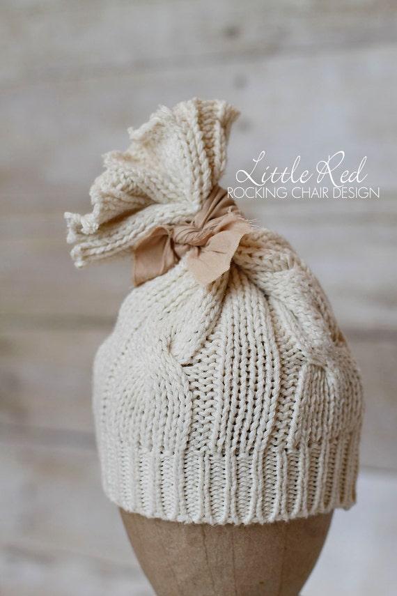Newborn Cream Tube Hat with Muslin Knot